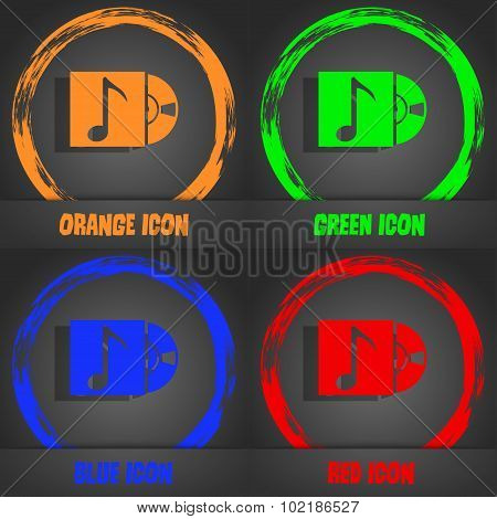 Cd Player Icon Sign. Fashionable Modern Style. In The Orange, Green, Blue, Red Design. Vector