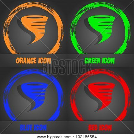 Tornado Icon. Fashionable Modern Style. In The Orange, Green, Blue, Red Design. Vector