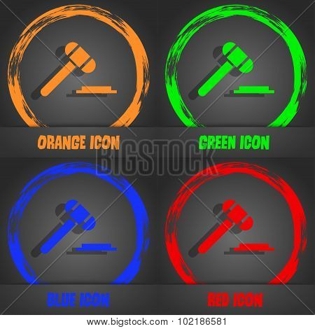 Judge Hammer Icon. Fashionable Modern Style. In The Orange, Green, Blue, Red Design. Vector