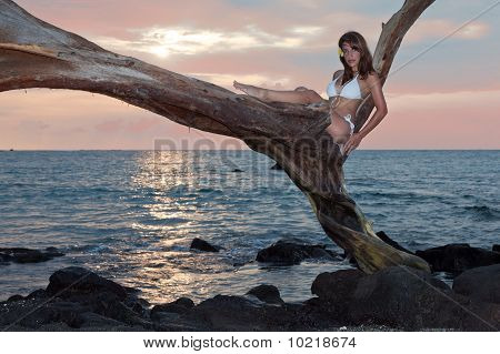 Woman In White Bikini With Sunset