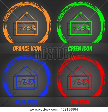 75 Discount Icon Sign. Fashionable Modern Style. In The Orange, Green, Blue, Red Design. Vector