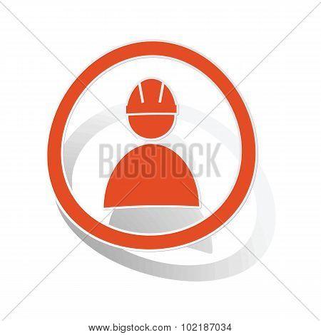 Builder sign sticker, orange