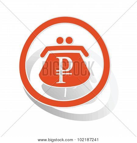 Rouble purse sign sticker, orange