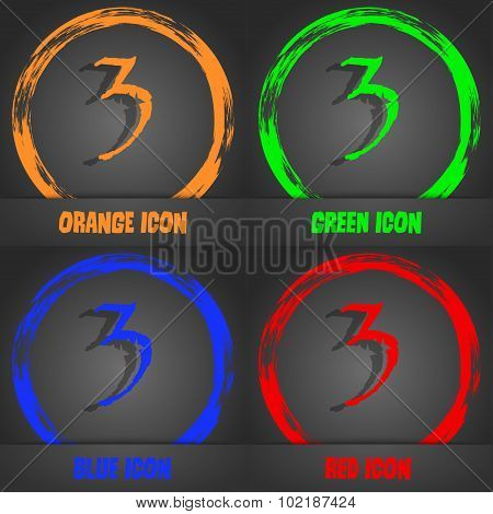 Third Place Award Sign. Winner Symbol. Step Three. Fashionable Modern Style. In The Orange, Green, B