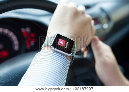 Man Hand In The Car With Watch App Auto Play