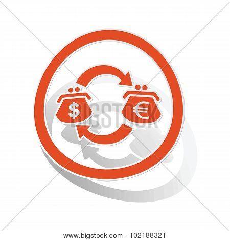 Dollar-euro trade sign sticker, orange