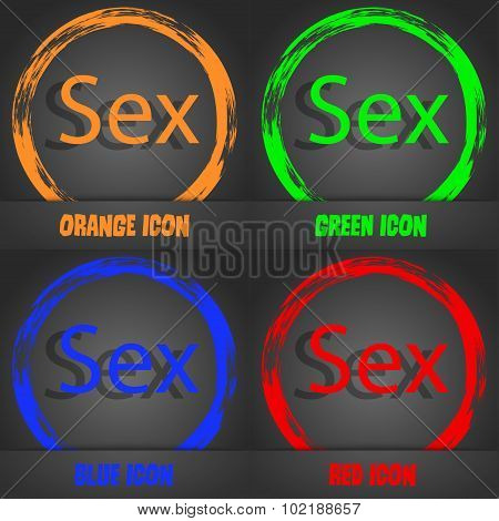 Safe Love Sign Icon. Safe Sex Symbol. Fashionable Modern Style. In The Orange, Green, Blue, Red Desi