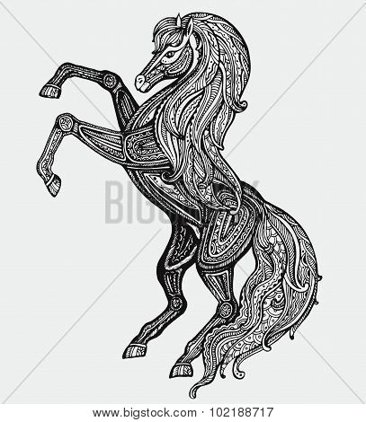 Hand Drawn Black And White Horse With A Lot Of Details In Graphic Style.