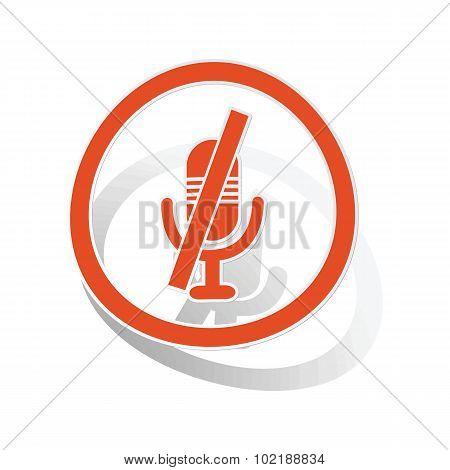 Muted microphone sign sticker, orange