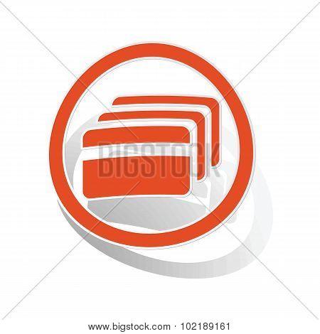 Credit card sign sticker, orange