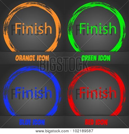 Finish Sign Icon. Power Button. Fashionable Modern Style. In The Orange, Green, Blue, Red Design. Ve