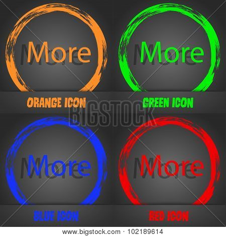 More Sign Icon. Details Symbol. Website Navigation. Fashionable Modern Style. In The Orange, Green,