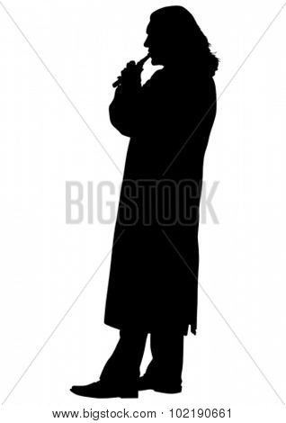 Flutist musician silhouette on a white background