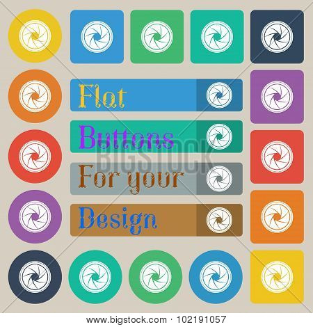 Diaphragm Icon. Aperture Sign. Set Of Twenty Colored Flat, Round, Square And Rectangular Buttons. Ve