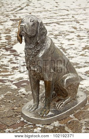 Voronezh, Russia - March 29, 2011: Monument To The Dog Named White Bim Black Ear In Voronezh, Russia