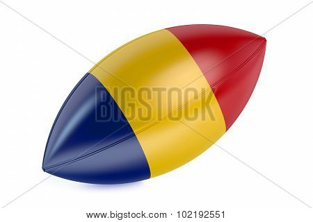 Rugby Ball With Flag Of Romania