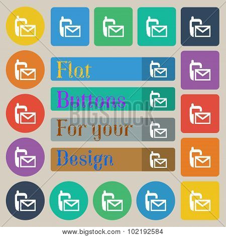 Mail Icon. Envelope Symbol. Message Sms Sign. Set Of Twenty Colored Flat, Round, Square And Rectangu