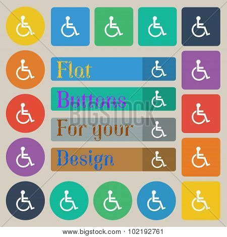 Disabled Sign Icon. Human On Wheelchair Symbol. Handicapped Invalid Sign. Set Of Twenty Colored Flat