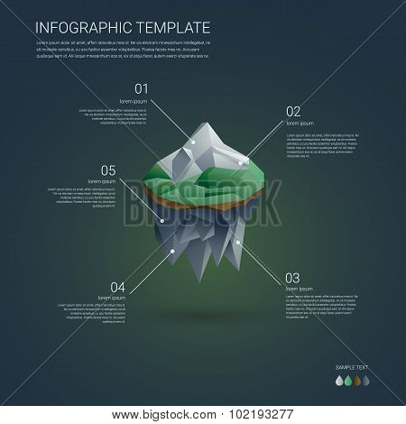Business infographics template. Low poly floating island with mountain landscape. Brochure cover or