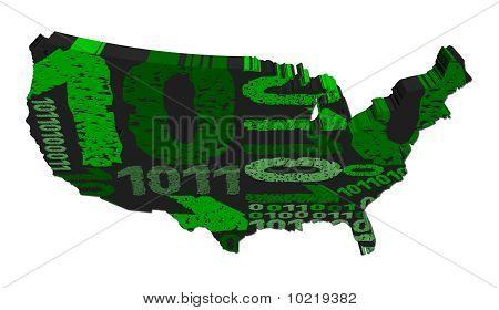 Usa Map With Grunge Binary Code