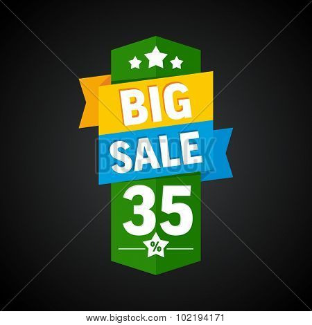 Big sale 35 percent badge. Vector illustration.