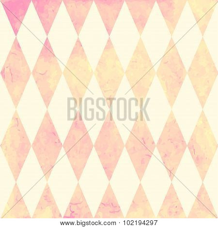 Watercolor rhombus seamless pattern. Geometric vector background