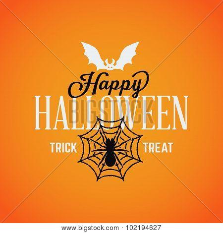 Retro Vintage Happy Halloween Badge. Vector Illustration