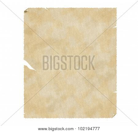 Old grungy paper with stains isolated on white