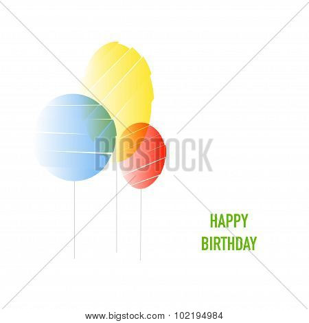 Three abstract baloons and text