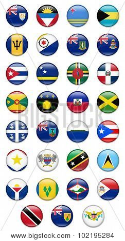 Caribbean Countries Flags Set-Complete