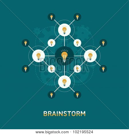 Flat Design Illustration Of  Brainstorm Concept. Lamps Interconnected
