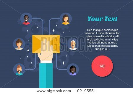Flat Design Vector Business Illustration. Posting Messages