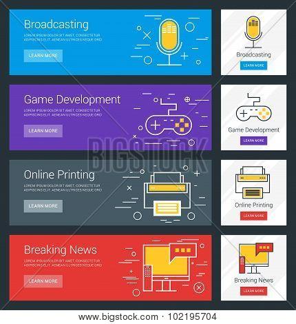 Broadcasting. Game Development. Online Printing. Breaking News. Flat Design Concept. Set Of Vector W