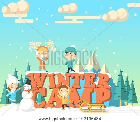 Winter camp isometric illustration