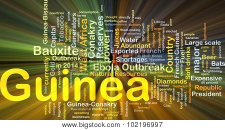Background concept wordcloud illustration of Guinea glowing light