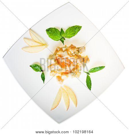 Nice salads isolated on white background