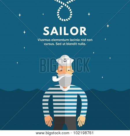 Profession Concept. Sailor. Flat Design Concepts For Web Banners And Promotional Materials