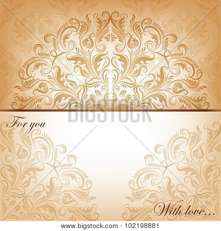 Vector invitation card with filigree elements