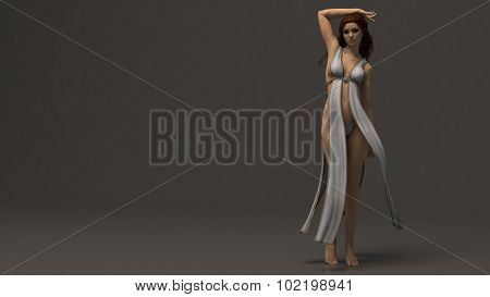 beautiful girl in fantasy outfit isolated on black