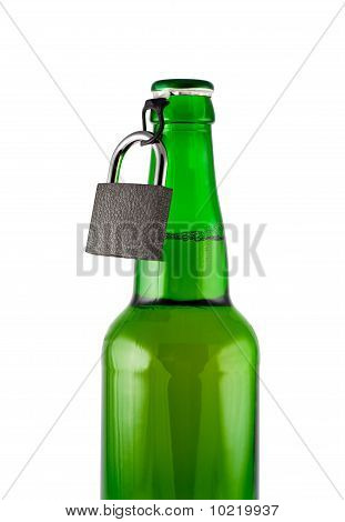 Beer, Bottle, Padlock Isolated White, Clipping Path.