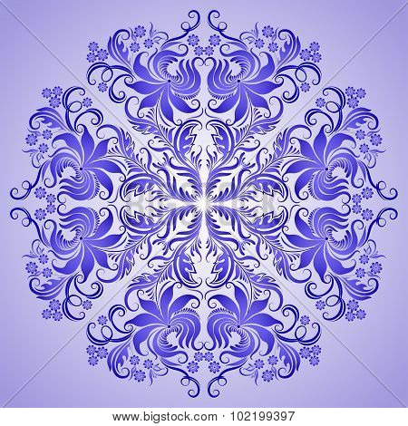Vector pattern of blue ornament for design
