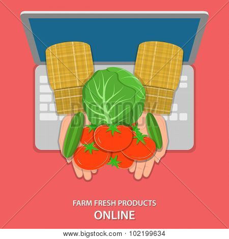 Online farm products flat vector concept.