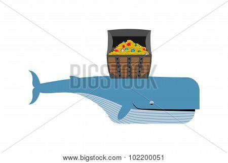 Sperm Whale And Pirate Treasure. Blue Whale And Chest Of Gold And Precious Stones.