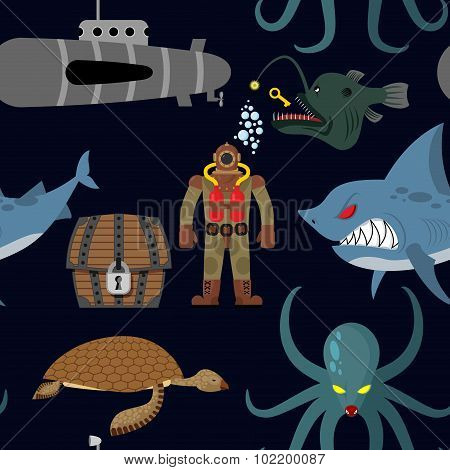 Deep Sea Seamless Pattern. Diver And Shark On Black Background. Sea Turtle And Submarine, Octopus An