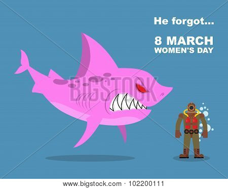 He Forgot About 8 March. International Womens Day. Wicked  Pink Shark Scares  Diver Old Suit. Farted