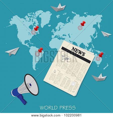 world press, newspaper, breaking news, vector illustration in flat design for web sites, Infographic