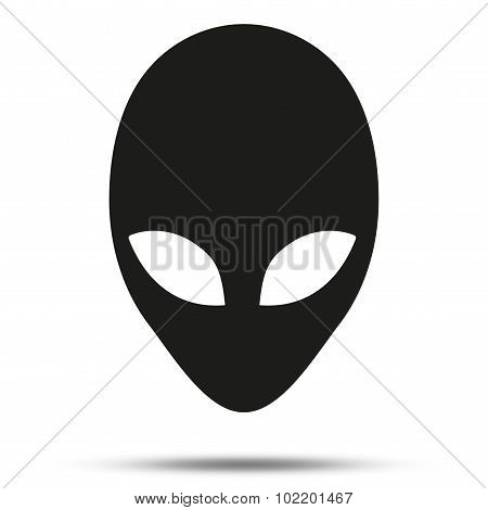 Silhouette symbol of Alien head