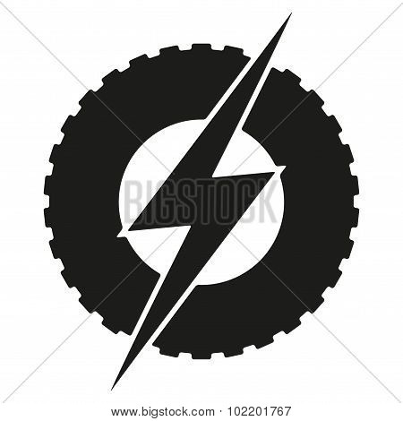 Logotype round wheel with lightning. Eco electric transport theme.