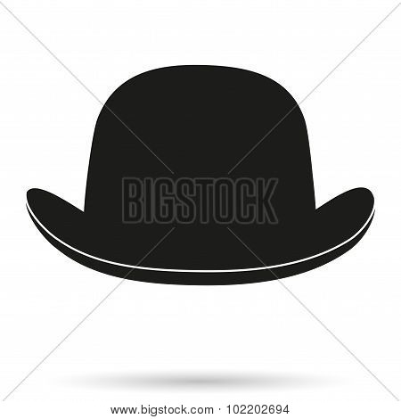 Silhouette symbol of bowler hat on a white background