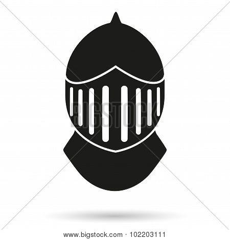 Silhouette symbol of Knight's Helmet.